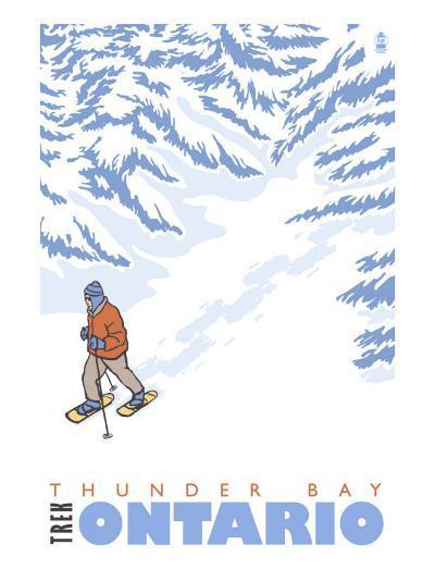 Stylized Snowshoer, Thunder Bay, Ontario-Lantern Press-Art Print