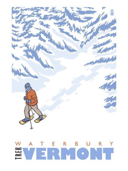 Stylized Snowshoer, Waterbury, Vermont-Lantern Press-Art Print