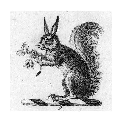 Stylized Squirrel Holding Leaves--Art Print