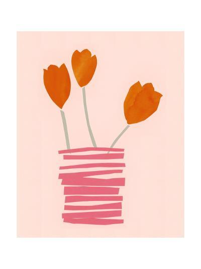 Stylized Watercolor Tulips in Stacked Line Vase--Art Print