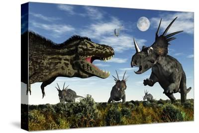 Styracosaurus Dinosaurs Confront a Tyrannosaurus Rex