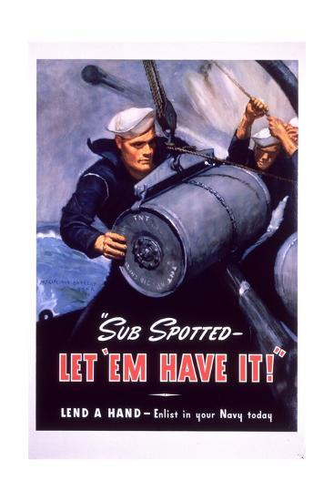 Sub Spotted - Let 'Em Have It! U.S. Navy Recruitment Poster-McClelland Barclay-Premium Giclee Print