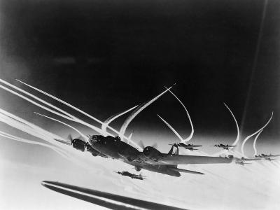 Sub-Stratospheric Vapor Trails of B-17 Flying Fortresses of the U.S. Army 8th Air Force--Photo