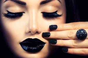 Beauty Fashion Model Girl with Black Make Up, Long Lushes by Subbotina Anna