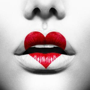 Beauty Sexy Lips with Heart Shape Paint. Love Concept. Kiss by Subbotina Anna