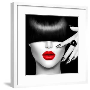 Black and White High Fashion Model Girl Portrait with Trendy Hair Style, Make Up and Manicure by Subbotina Anna