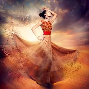 Dancing Fashion Woman Wearing Blowing Long Chiffon Dress by Subbotina Anna