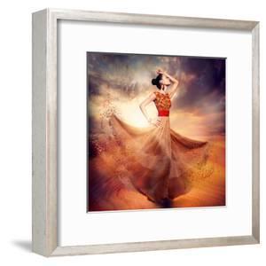 Dancing Fashion Woman Wearing Blowing Long Chiffon Dress by Subbotina Anna