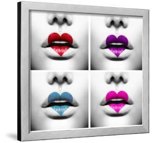 Fashion Abstract Collage Of Beauty Sexy Lips With Colorful Heart Shape Paint by Subbotina Anna