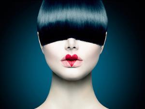 High Fashion Model Girl Portrait with Trendy Fringe Hair Style and Red Heart Lips Makeup. Long Blac by Subbotina Anna