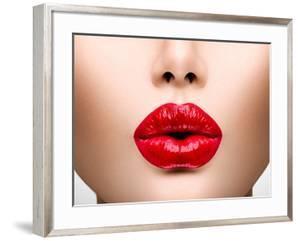 Sexy Lips. Beauty Red Lip Makeup Detail. Beautiful Make-Up Closeup. Sensual Open Mouth. Lipstick Or by Subbotina Anna