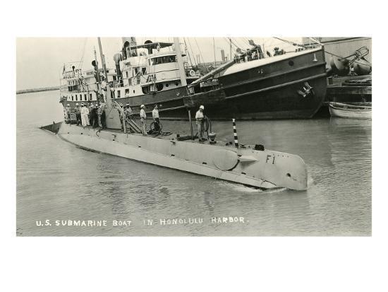 Submarine in Hololulu Harbor, Hawaii--Art Print