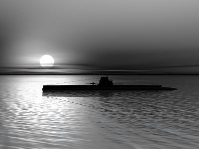 Submarine On A Background Of A Sunset On The Sea-oneo-Photographic Print