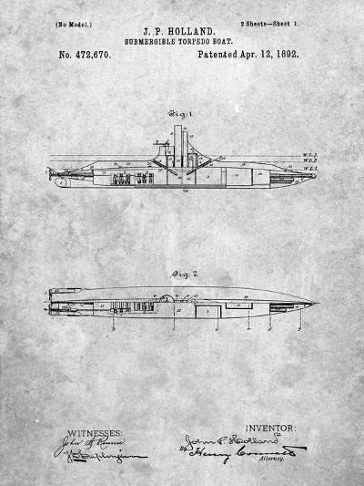 Submarine Vessel Patent-Cole Borders-Art Print