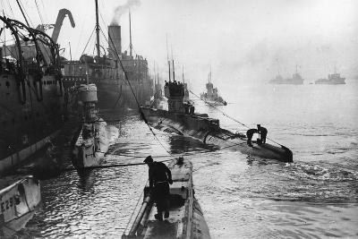 Submarines Leaving the Ship Depot at Harwich-Thomas E. & Horace Grant-Photographic Print