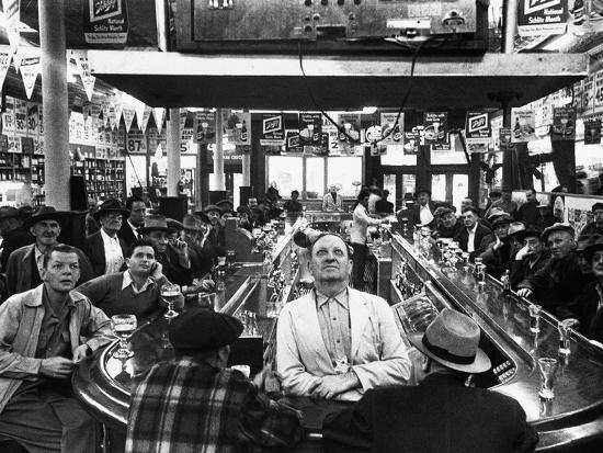 Subway Series: Rapt Audience in Bar Watching World Series Game from New York on TV-Francis Miller-Photographic Print