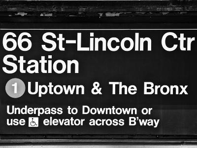 Subway Sign at Times Square, 66 Street Lincoln Station, Manhattan, NYCa-Philippe Hugonnard-Photographic Print