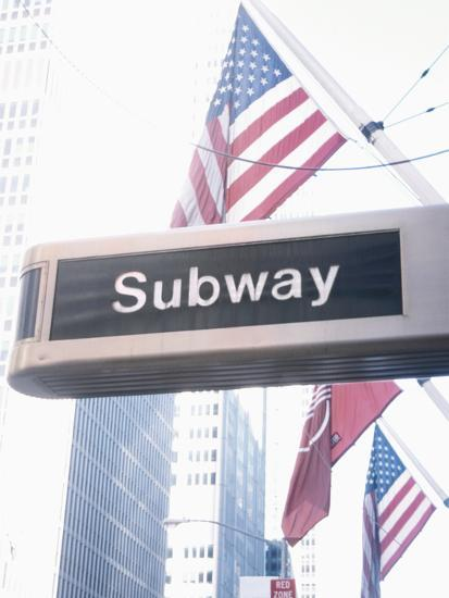 Subway Sign With Patriotic American Flag Photographic Print By Art Com