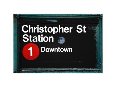 Subway Station Sign, Christopher Street Station, Downtown, Manhattan, NYC, White Frame-Philippe Hugonnard-Photographic Print