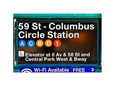 Subway Station Signs, 59 Street Columbus Circle Station, Manhattan, NYC, White Frame-Philippe Hugonnard-Photographic Print