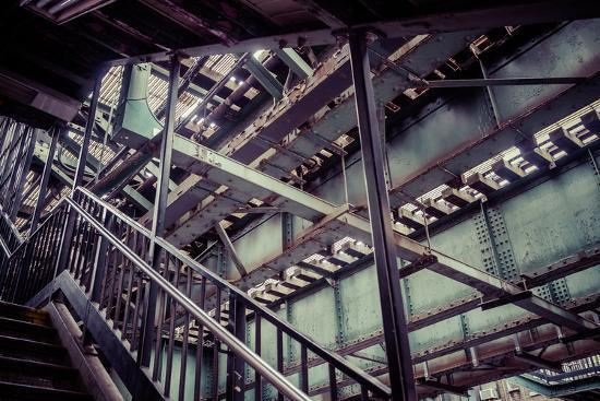 Subway station stair railing and steel construction with corrosion, Brooklyn, New York, USA-Andrea Lang-Photographic Print