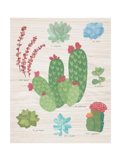 Succulent Chart IV on Wood-Wild Apple Portfolio-Art Print