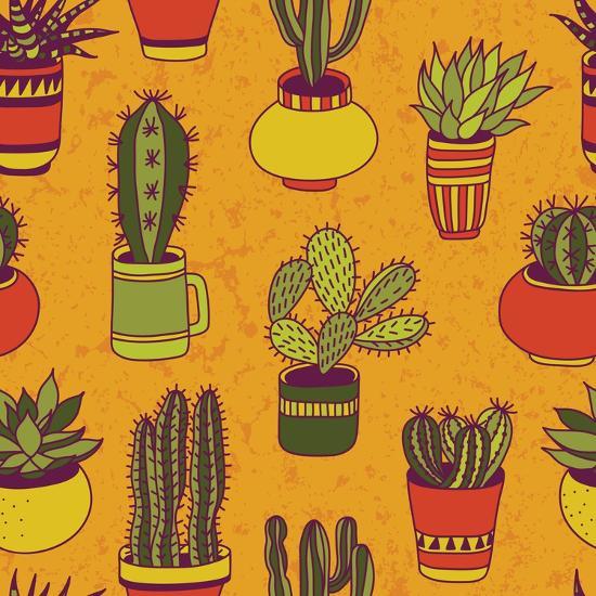 Succulents Garden - Seamless Pattern-LunaSolvo-Art Print