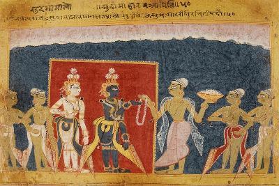 Sudama Offers a Garland to Krishna--Art Print