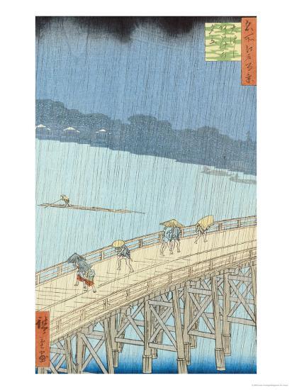 "Sudden Shower on Ohashi Bridge at Ataka, from the Series ""100 Views of Edo"", 1857-Ando Hiroshige-Giclee Print"