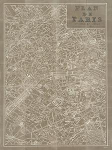 Blueprint Map Paris Taupe by Sue Schlabach
