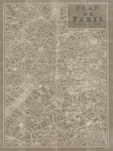 Blueprint Map Paris Taupe by Sue Schlabach