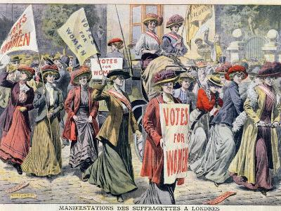 Suffragette Demonstration in London, from 'Le Petit Journal', 1908--Giclee Print