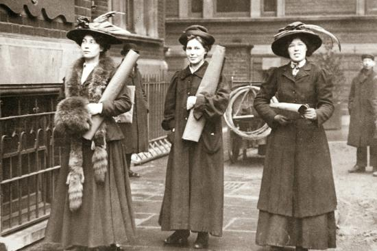 Suffragettes armed with materials to chain themselves to railings, 1909-Unknown-Photographic Print
