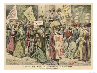 Suffragettes Celebrate the Release of Edith New and Mary Leigh from Holloway--Giclee Print