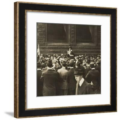Suffragist Mabel Vernon Speaking to Large Crowd of Men in Chicago, 1917--Framed Photo