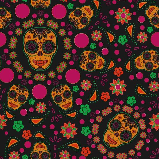Sugar Skull Seamless Pattern- Blackspring-Art Print