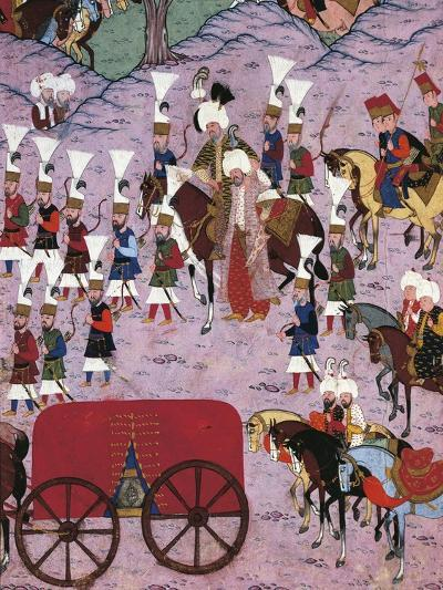 Suleiman the Magnificent and His Army, 1566, Ottoman Miniature, Turkey 16th Century--Giclee Print
