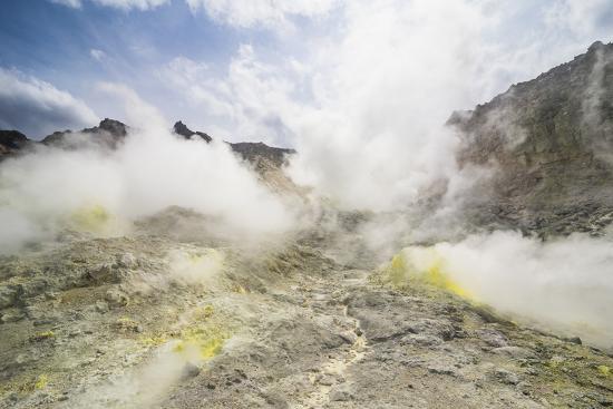 Sulphur pieces on Iozan (sulfur mountain) active volcano area, Akan National Park, Hokkaido, Japan,-Michael Runkel-Photographic Print