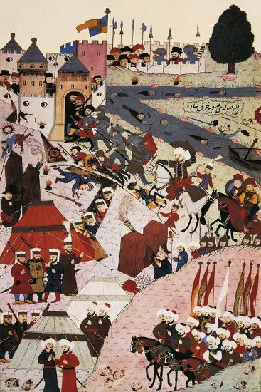 Sultan Mehmed II Attacking Belgrade in 1389, Ottoman Miniature, Turkey 14th Century--Giclee Print