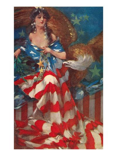 Sultry Siren Wrapped in Flag--Art Print