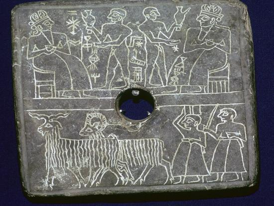 Sumerian stone plaque showing ritual offerings to a King. Artist: Unknown-Unknown-Giclee Print