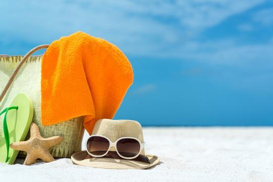 Summer Beach Bag with Coral,Towel and Flip Flops on Sandy Beach-oleggawriloff-Photographic Print