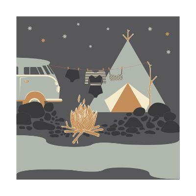 Summer Camp Fire Illustration at Night-Tasiania-Art Print