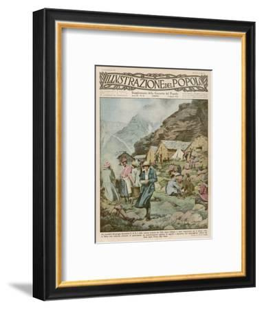 Summer Camp for Women Members of the Italian Alpine Club High in the Mountains-Alfredo Ortelli-Framed Giclee Print