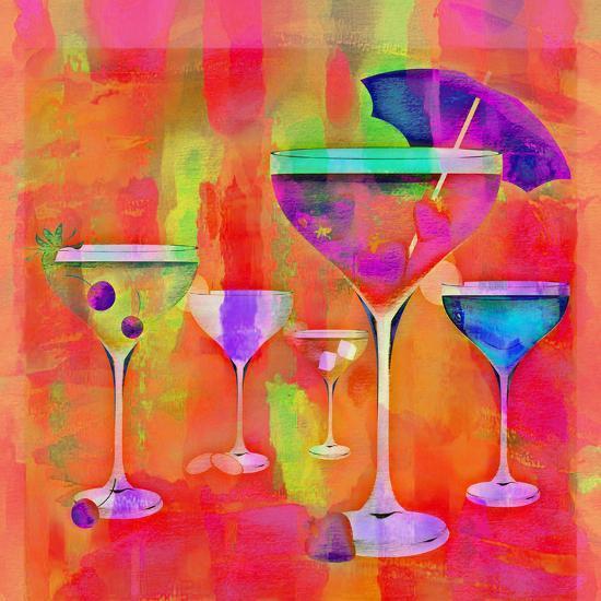 Summer Drinks Colorful - Square-Lebens Art-Art Print