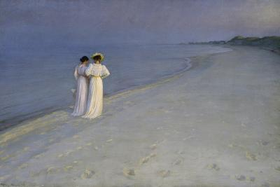 Summer Evening at Skagen (Anna Ancher and Marie Kroyer on the Beach at Skagen), 1893-Peter Severin Kroyer-Giclee Print