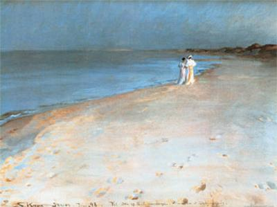 Summer Evening at the South Beach, Skagen, c.1893-Peder Severin Kr?yer-Art Print