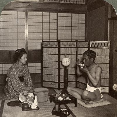 Summer Evening Meal at a Hotel, Hiroshima, Japan, 1904-Underwood & Underwood-Photographic Print