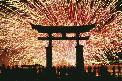 Summer Fireworks at Itsukushima Shrine-Design Pics Inc-Photographic Print