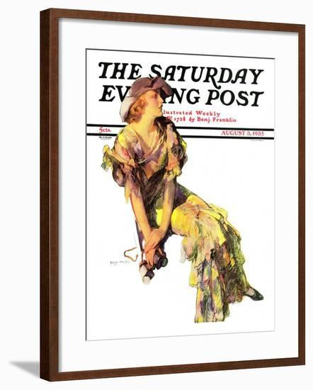 """""""Summer Frock,"""" Saturday Evening Post Cover, August 3, 1935-Guy Hoff-Framed Giclee Print"""